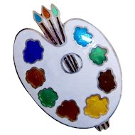 50% Off Sterling Silver Jewel Color Artists Palette Brooch