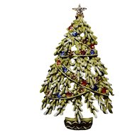 50% Off ART Christmas Tree Enamel Rhinestone Brooch