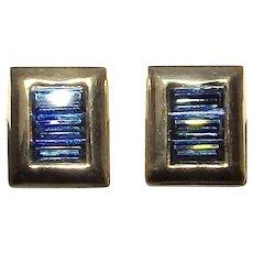 SAL Swarovski America Limited Edelweiss Sapphire Crystal Earrings