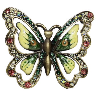 Jay Strongwater Delicate Enamel Crystal Butterfly Brooch