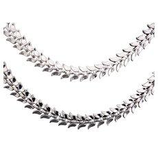 Crown Trifari Liquidy Nested Leaf Links Necklace & Bracelet