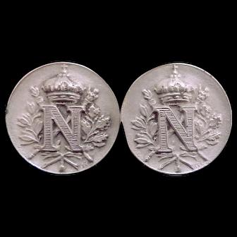 Kramer Switzerland Heraldic Royal Crown Laurel Leaf Cufflinks