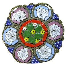Antique Italy Micro Mosaic Dusty Rose & Blue w Bright Green Brooch