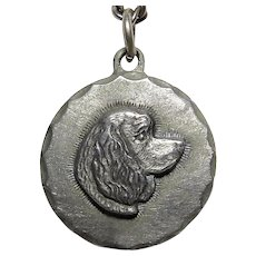 1983 Rawcliffe Pewter Cocker Spaniel Profile Cameo Pendant