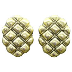 YSL Yves Saint Laurent Puffed Oval in Checks Statement Clip Earrings