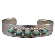 On Sale Mexico Sterling Silver Turquoise Child's Bracelet