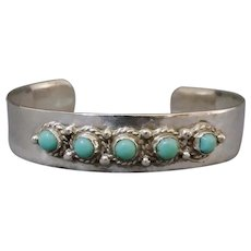 Mexico Sterling Silver Turquoise Child's Bracelet