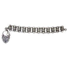 Victorian Sterling Silver Gate Bracelet w Heart Padlock Charm