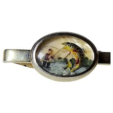 Reverse Carved Hand Painted Intaglio Fly Fisherman w Trout Tie Clip