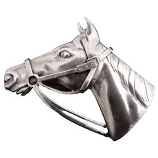 Sterling Silver Horse Head w Relief Bridle Brooch