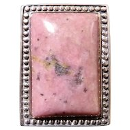 Sterling Silver Black Pink Rhodonite Stone Statement Ring