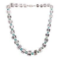 50% Off Quartz Crystal Beads w Chalcedony Beads Sterling Necklace