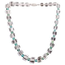 Quartz Crystal Square Beads w Round Chalcedony Beads Sterling Necklace