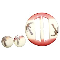 Island Palm Tree Coral Celluloid Belt Buckle & Two Buttons