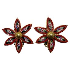 Italy Micro Mosaic Christmas Poinsettia Flower Earrings
