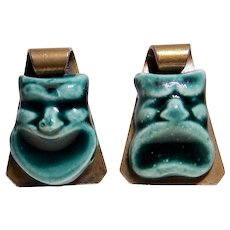 Elzac California Pottery Comedy Tragedy Masks Two Pin Set