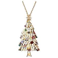 50% Off Snowy Christmas Tree Rhinestone Pendant