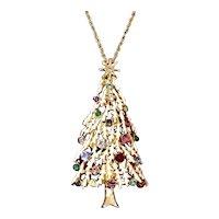 Snowy Christmas Tree Rhinestone Pendant