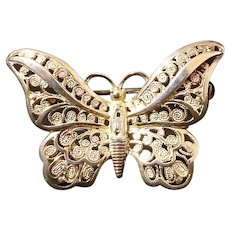 Alice Caviness Sterling Germany Filigree Butterfly Brooch