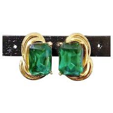 Coro Emerald Green Rhinestone w Gold Swirls Earrings