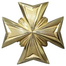 Sale - Striking Giovanni Maltese Cross Brooch Original Box