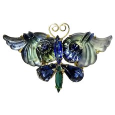 Edlee Blue & Green Pressed Glass Butterfly Brooch