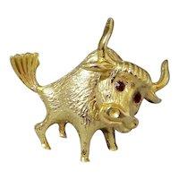 HOB CO Cute Longhorn Bull Rhinestone Brooch
