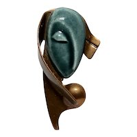 Turquoise Elzac California Pottery Modernist Face Brooch