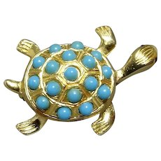 Hawksbill Sea Turtle Faux Turquoise Red Rhinestone Brooch