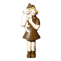 1940's Brownie Girl Scout Uniform Girl holding Kitty Brooch