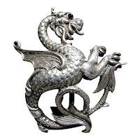 Sterling Silver Dragon w Red Stone Eye Brooch Pin