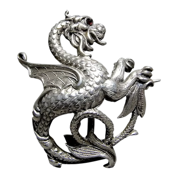 Sterling Silver Dragon w Red Stone Eye Brooch Pin