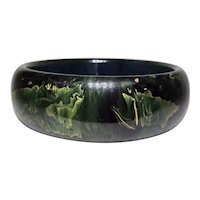 Deep with Lighter Green Abstract Spinach Bakelite Cuff Bracelet