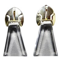 Clear Lucite Modernist Trapezoid Gold Plate Pointed Arch Earrings