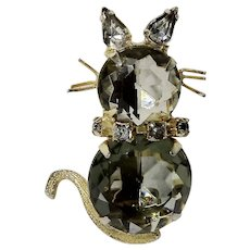 Cognac and Champagne Rhinestone w White Ears Cat Brooch