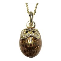 Baby Burrowing Owl Egg Shaped Carmel Enamel Crystal Pendant