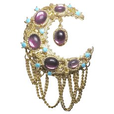 Baroque Purple Rhinestone Crescent Moon Dangle Brooch