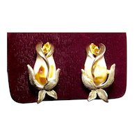 Francois by Coro Rose Bud Enamel Rhinestone Clip Earrings