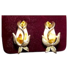 Francois by Coro Rose Bud Enamel Rhinestone Clip Earrings