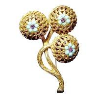 Florenza Etruscan Globe Amaranth Flower Rhinestone Filigree Brooch
