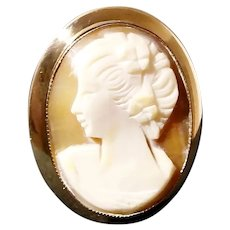 Amco 14K Gold Filled Shell Cameo Lady Profile Brooch