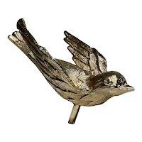 Satiny Gold Plate Bluebird in Flight Lapel Pin
