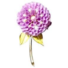 Ivanetti Dahlia Flower Large Plastic Blossom Rhinestone Brooch