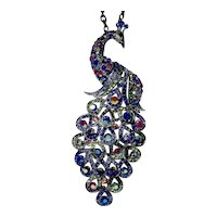 Cara N.Y. Jewel Color Rhinestone Statement Peacock Pendant
