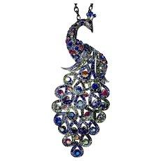 Cara N.Y. Jewel Color Rhinestone Statement Peacock Pendant