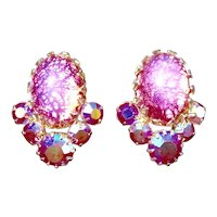 Coro Crinkled Pink Foil Moonstone Rhinestone Earrings