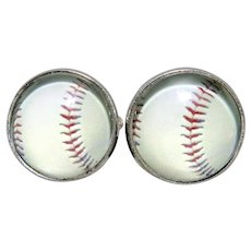CGB Baseball Reverse Carved Painted Intaglio Cufflinks NIB