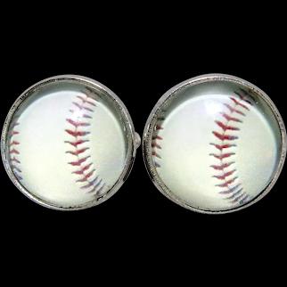 CGB Baseball Reverse Carved Painted Intaglio Cufflinks NIB