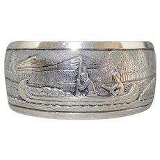 Ray Calladitto Navajo Sterling Silver Storyteller Cuff Bracelet