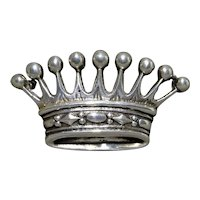 Sterling Silver Scandinavian Minimalist Royal Crown Brooch 13gm